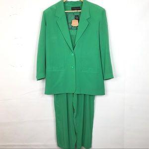 August Silk 100% Silk 2 Piece Pants Suit